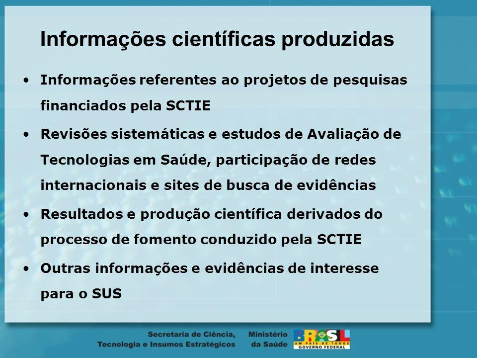 Informações científicas produzidas