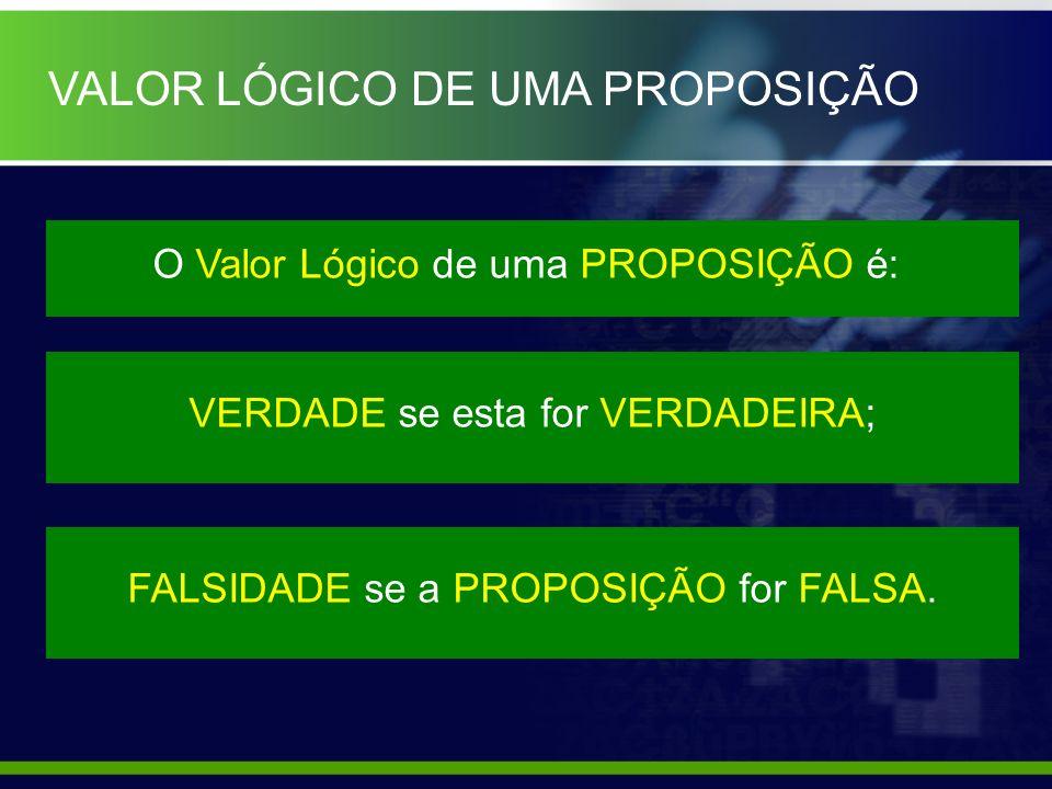 VALOR LÓGICO DE UMA PROPOSIÇÃO