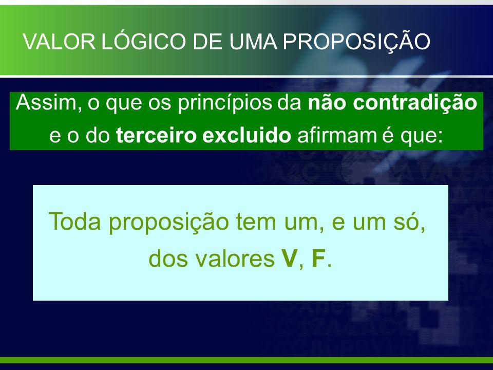 Toda proposição tem um, e um só, dos valores V, F.