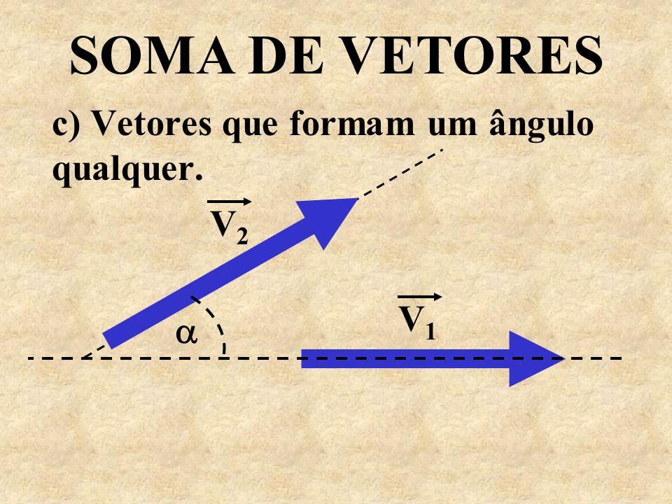 c) Vetores que formam um ângulo qualquer.