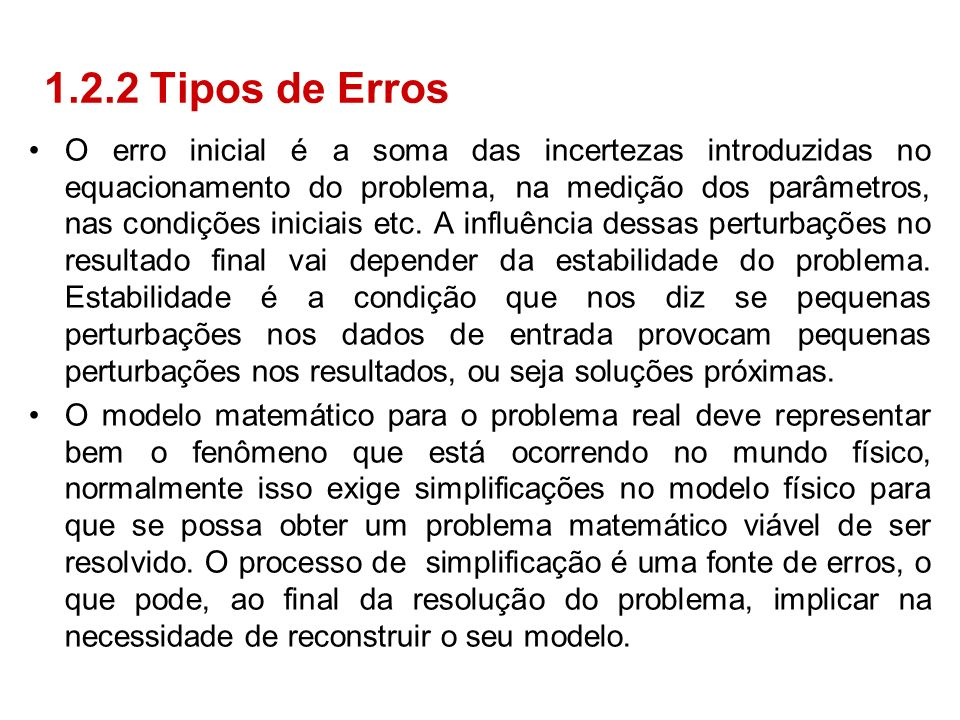 1.2.2 Tipos de Erros