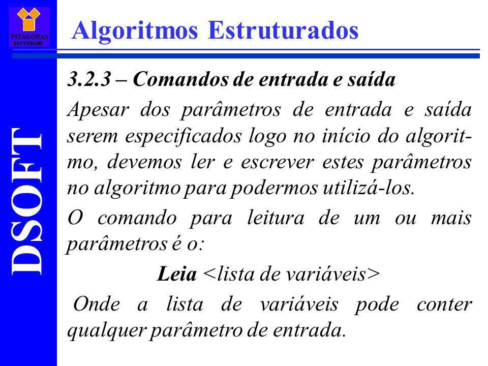 Leia <lista de variáveis>