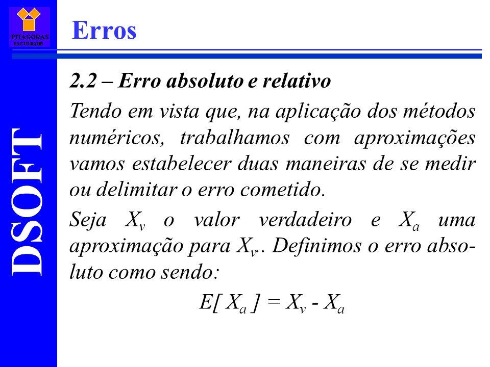Erros 2.2 – Erro absoluto e relativo