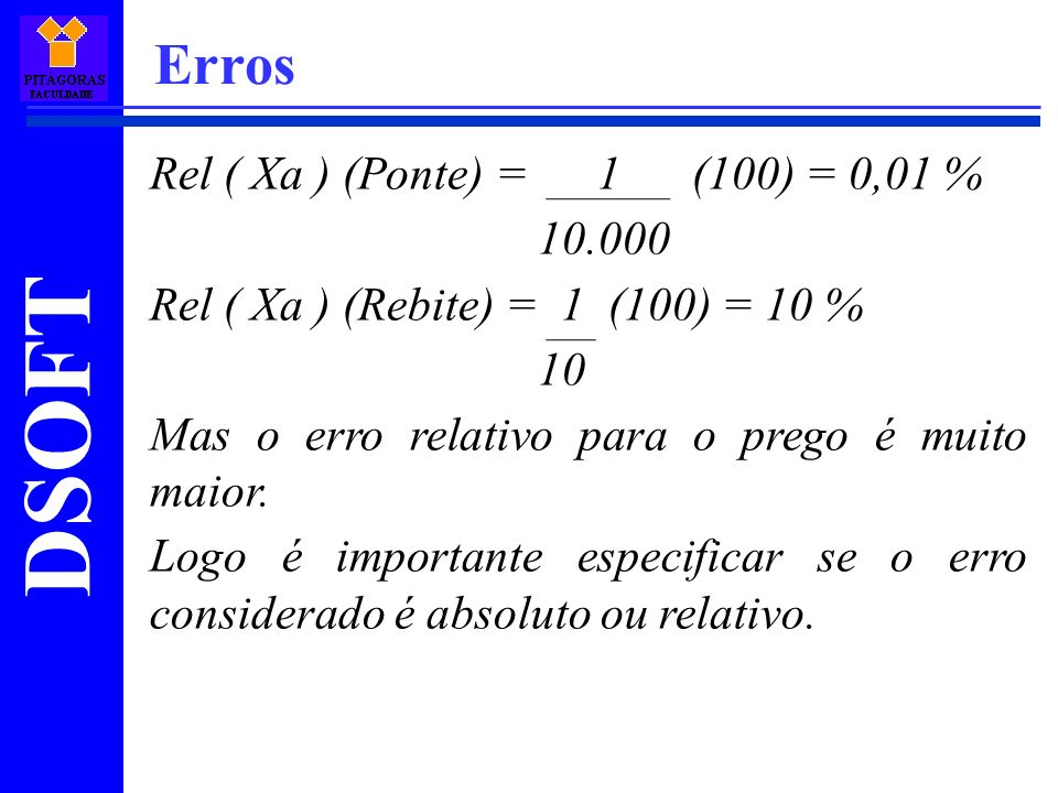 Erros Rel ( Xa ) (Ponte) = 1 (100) = 0,01 % 10.000