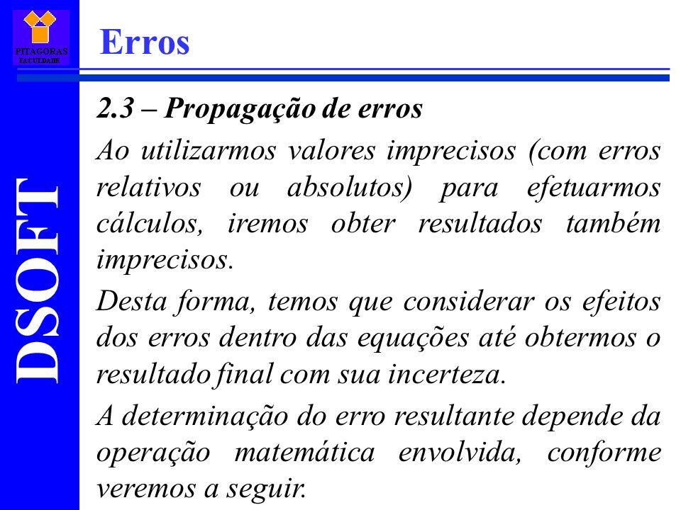 Erros 2.3 – Propagação de erros