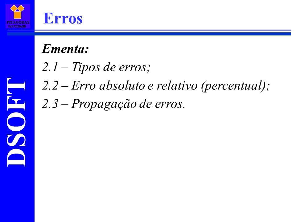 Erros Ementa: 2.1 – Tipos de erros;