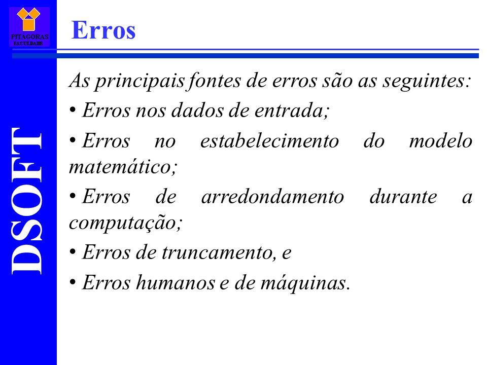 Erros As principais fontes de erros são as seguintes: