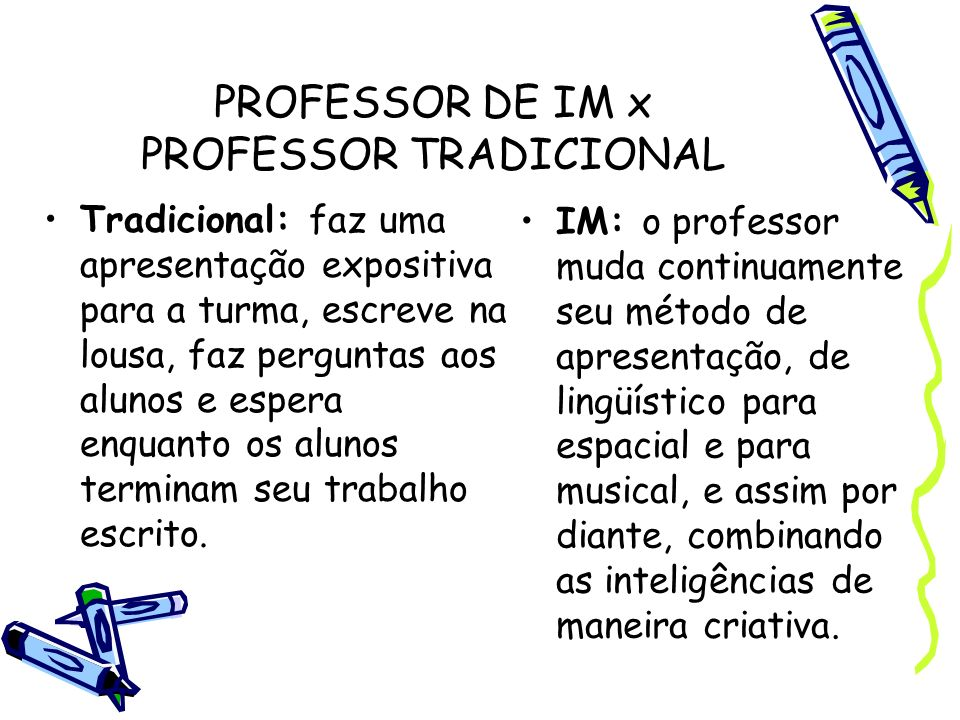 PROFESSOR DE IM x PROFESSOR TRADICIONAL