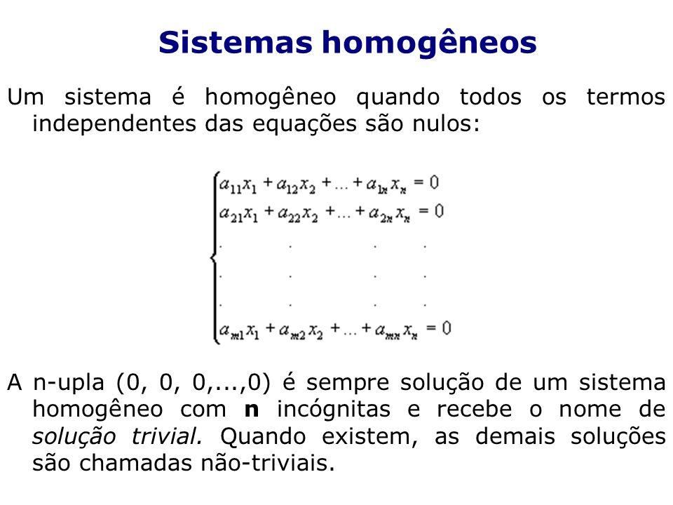 Sistemas homogêneos Um sistema é homogêneo quando todos os termos independentes das equações são nulos: