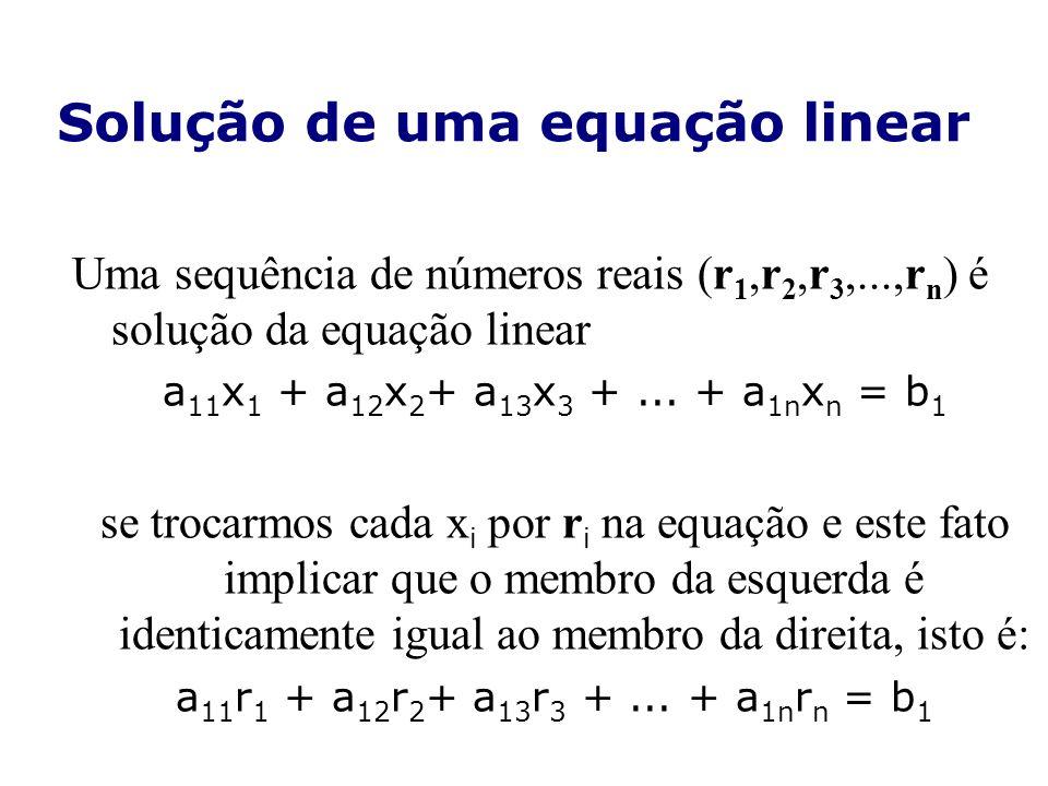 Solução de uma equação linear