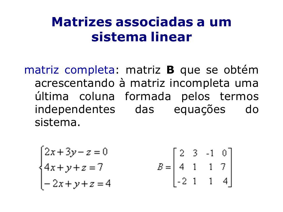 Matrizes associadas a um sistema linear