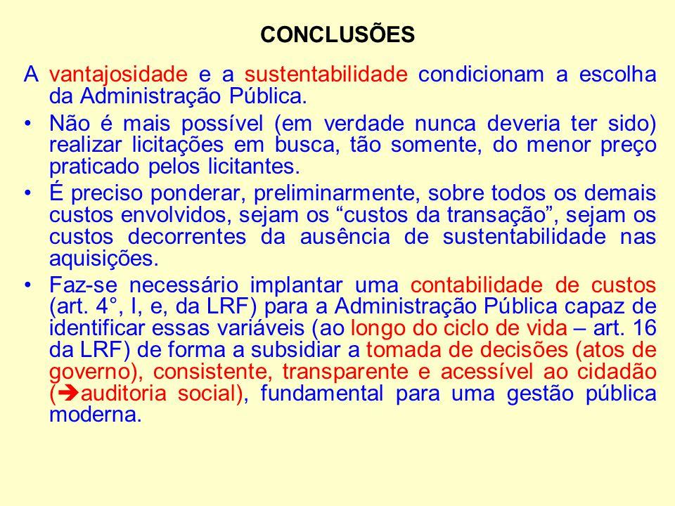CONCLUSÕES A vantajosidade e a sustentabilidade condicionam a escolha da Administração Pública.