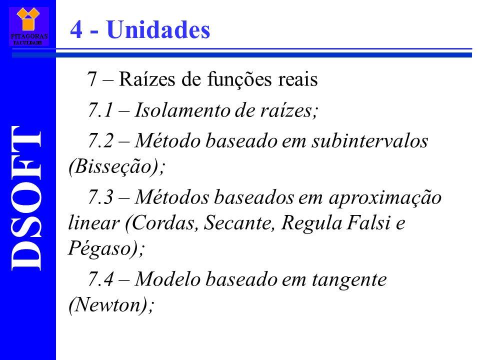 4 - Unidades 7 – Raízes de funções reais 7.1 – Isolamento de raízes;