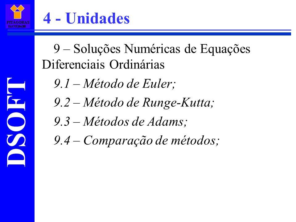 4 - Unidades 9 – Soluções Numéricas de Equações Diferenciais Ordinárias. 9.1 – Método de Euler; 9.2 – Método de Runge-Kutta;