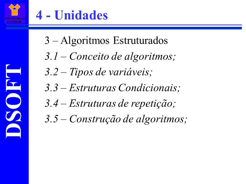 4 - Unidades 3 – Algoritmos Estruturados 3.1 – Conceito de algoritmos;
