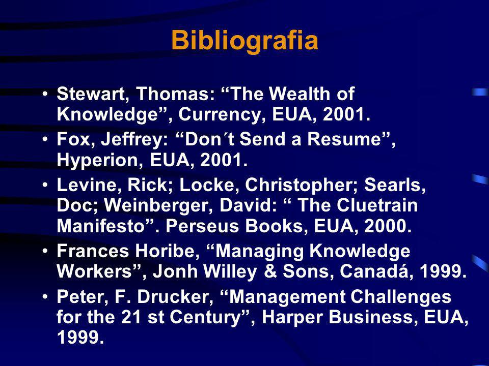 Bibliografia Stewart, Thomas: The Wealth of Knowledge , Currency, EUA, Fox, Jeffrey: Don´t Send a Resume , Hyperion, EUA,