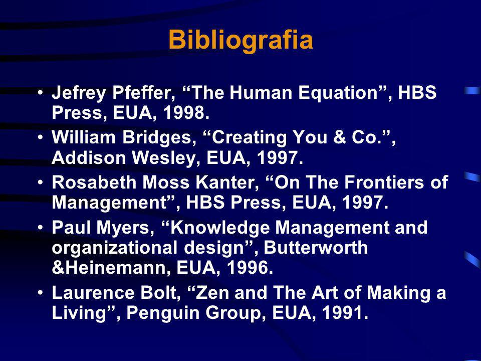 Bibliografia Jefrey Pfeffer, The Human Equation , HBS Press, EUA, 1998. William Bridges, Creating You & Co. , Addison Wesley, EUA, 1997.