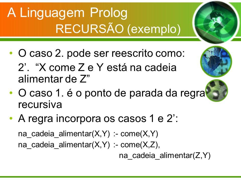 A Linguagem Prolog RECURSÃO (exemplo)