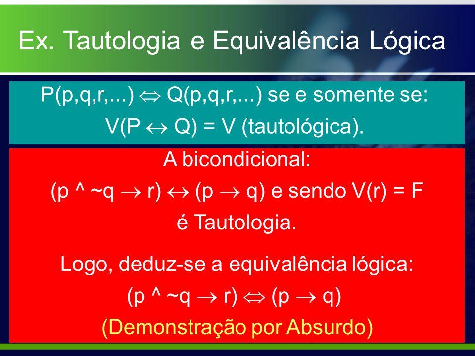 Ex. Tautologia e Equivalência Lógica
