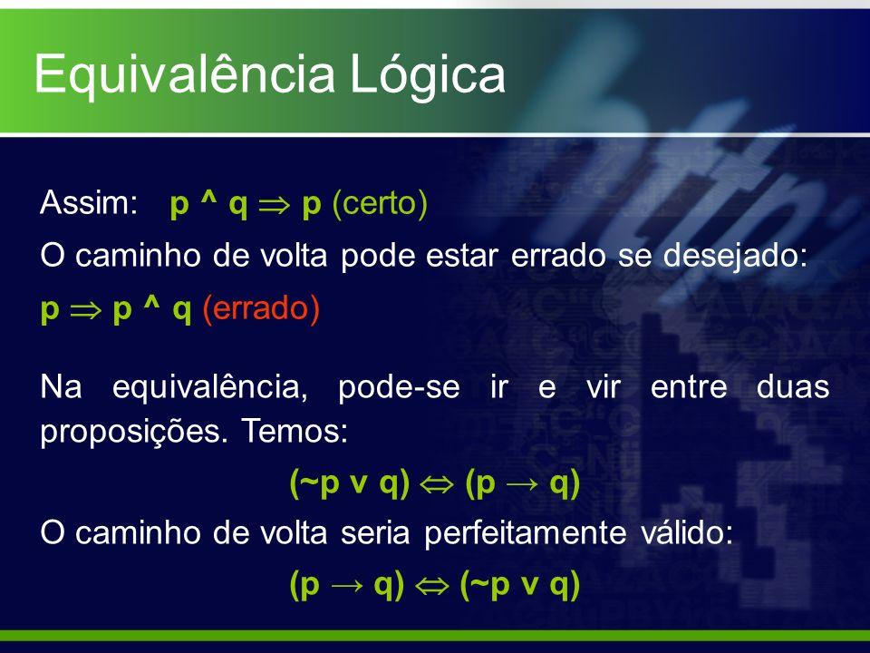 Equivalência Lógica Assim: p ^ q  p (certo)