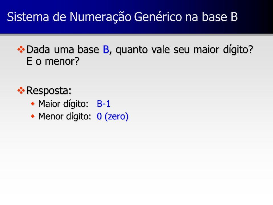 Sistema de Numeração Genérico na base B