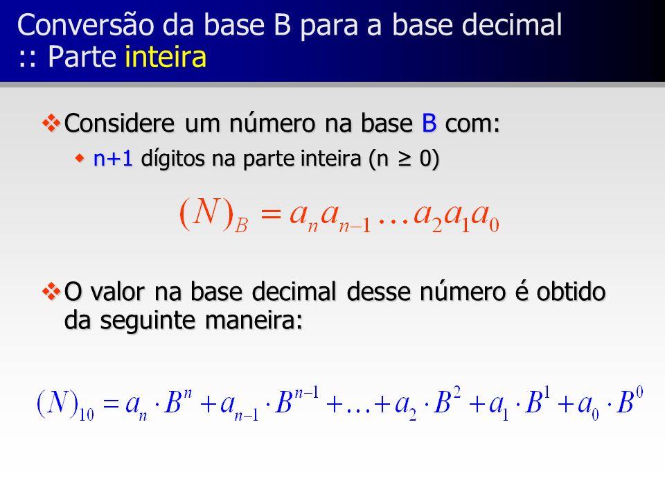 Conversão da base B para a base decimal :: Parte inteira