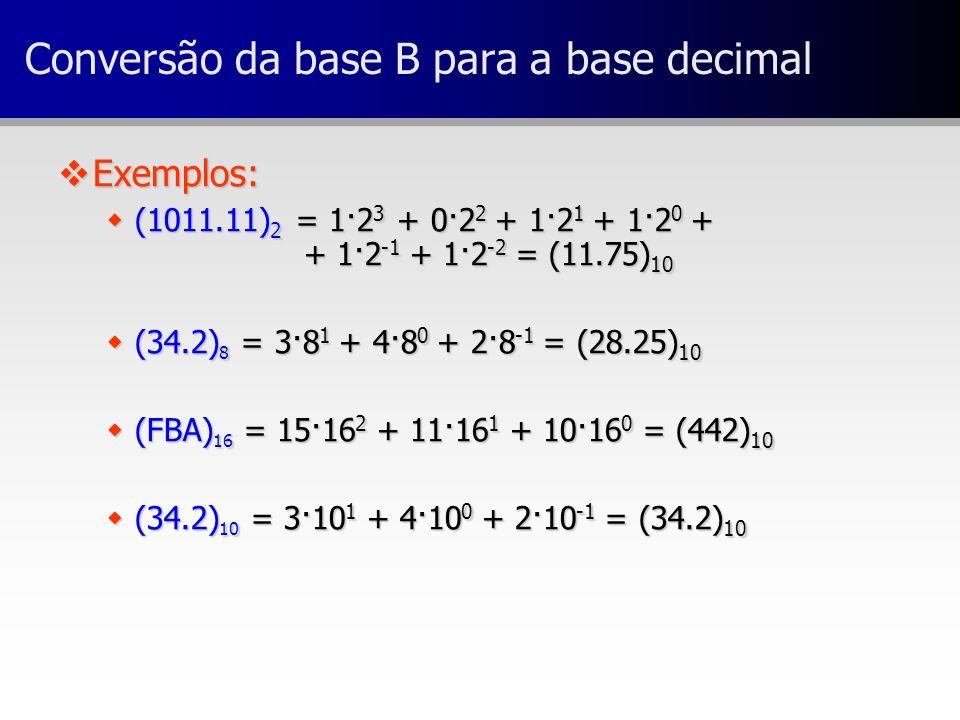 Conversão da base B para a base decimal