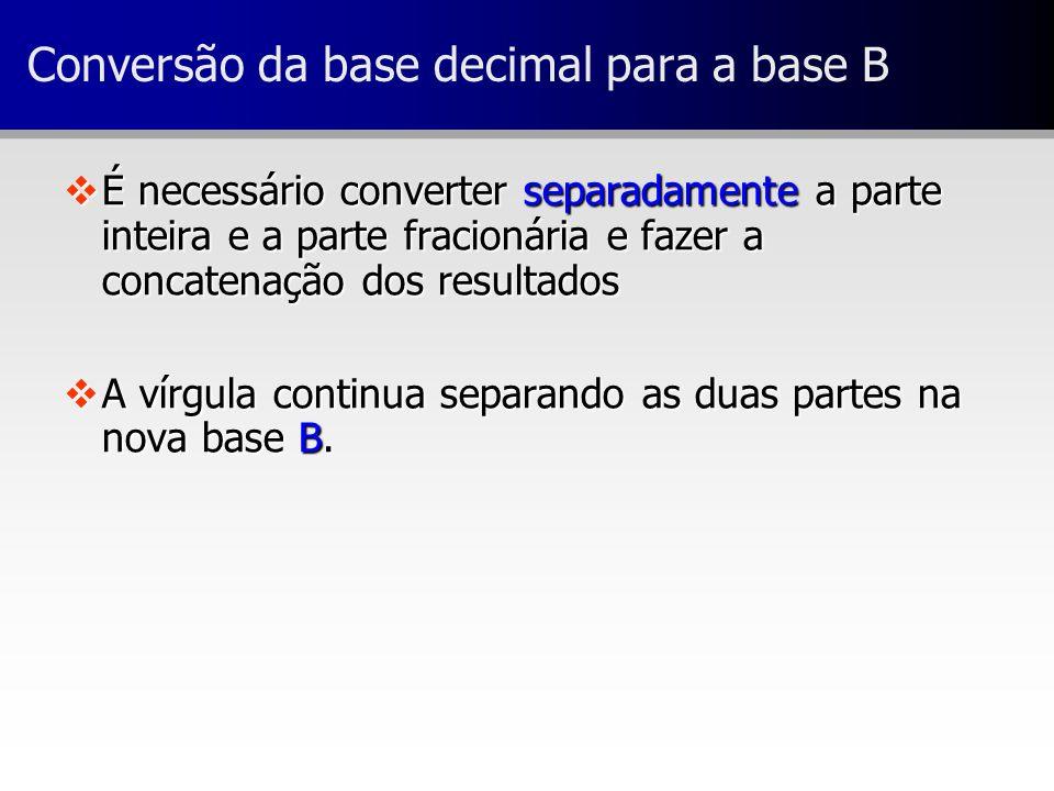 Conversão da base decimal para a base B