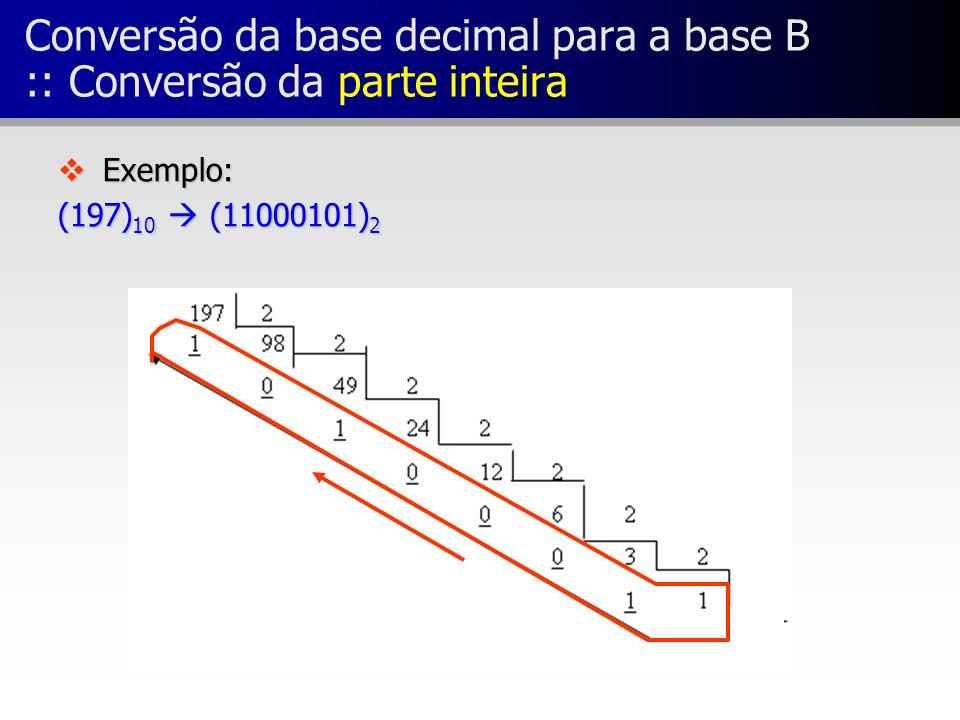Conversão da base decimal para a base B :: Conversão da parte inteira