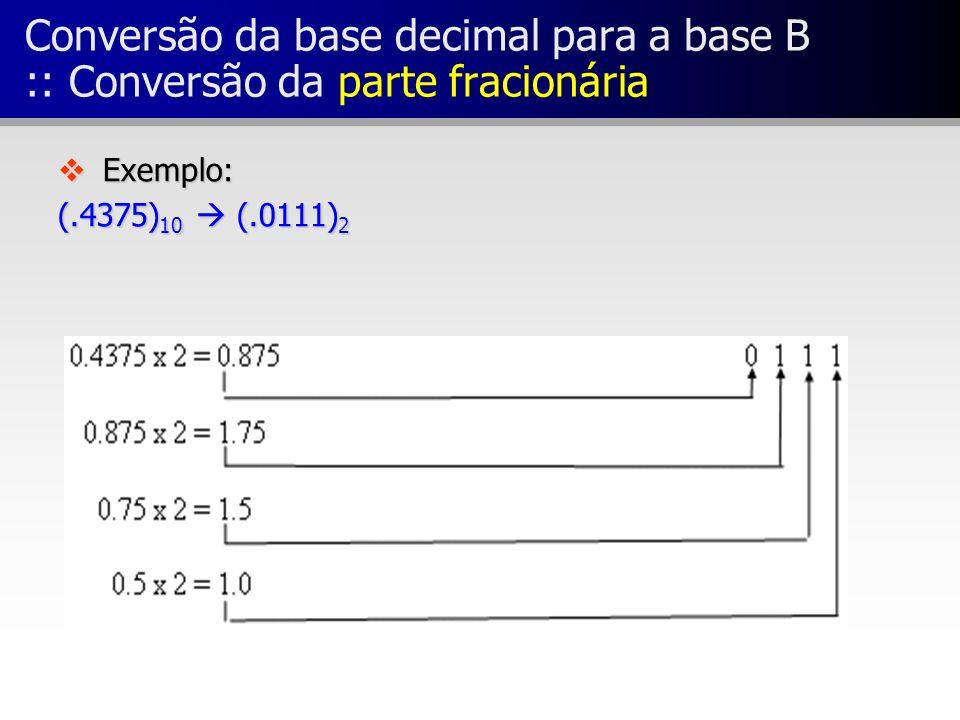 Conversão da base decimal para a base B :: Conversão da parte fracionária