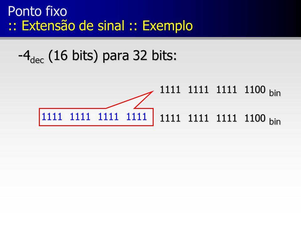 Ponto fixo :: Extensão de sinal :: Exemplo