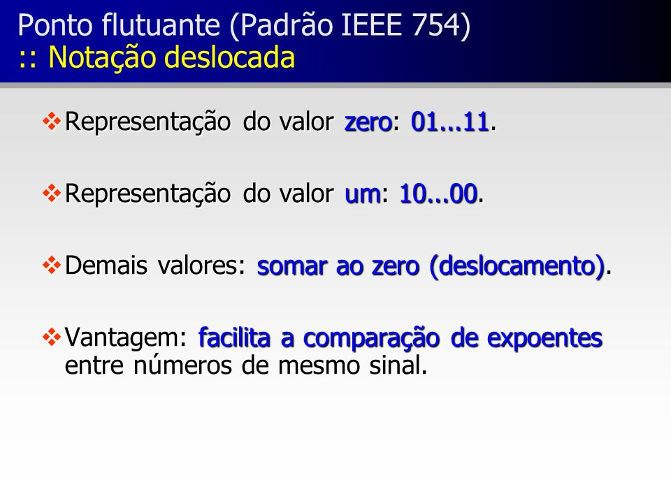 Ponto flutuante (Padrão IEEE 754) :: Notação deslocada