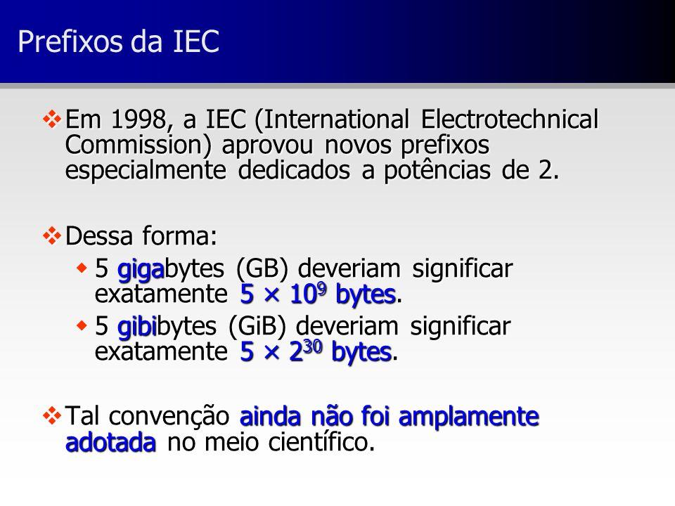 Prefixos da IEC Em 1998, a IEC (International Electrotechnical Commission) aprovou novos prefixos especialmente dedicados a potências de 2.
