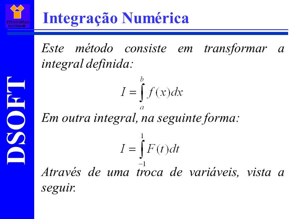 Integração Numérica Este método consiste em transformar a integral definida: Em outra integral, na seguinte forma: