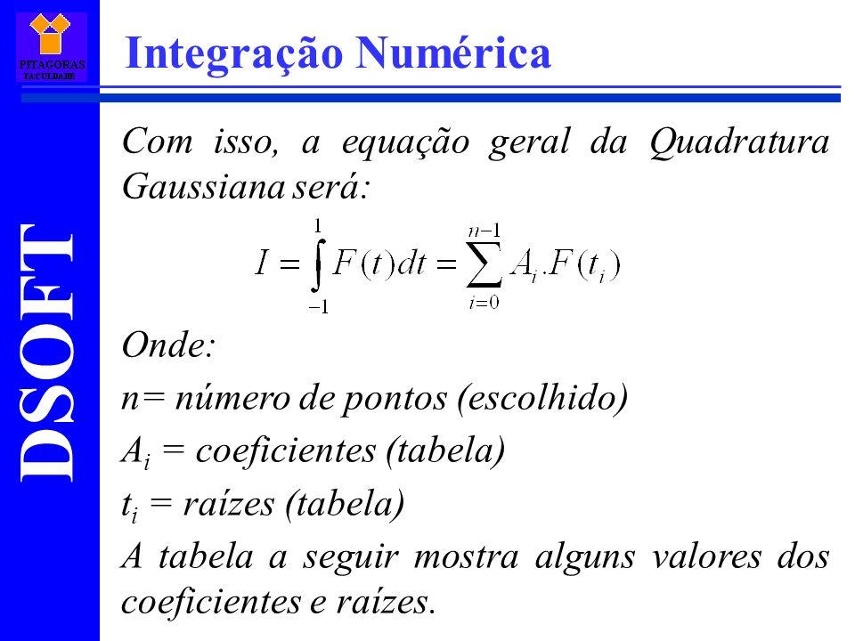 Integração Numérica Com isso, a equação geral da Quadratura Gaussiana será: Onde: n= número de pontos (escolhido)
