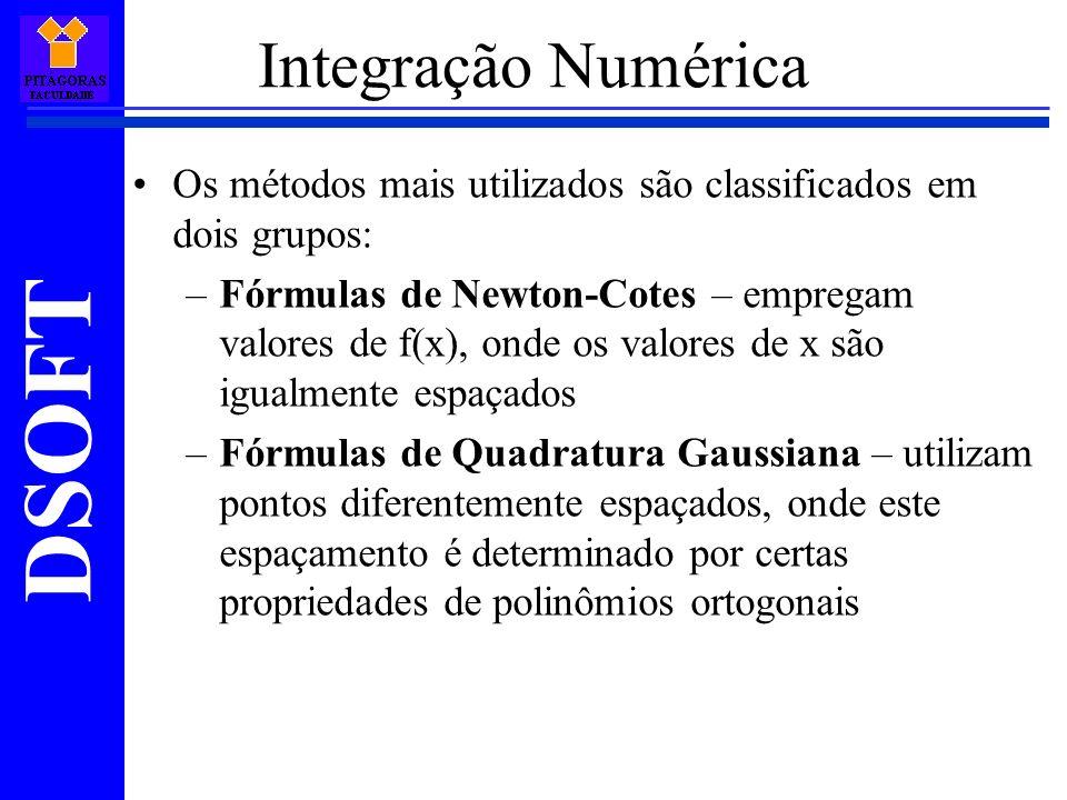 Integração Numérica Os métodos mais utilizados são classificados em dois grupos: