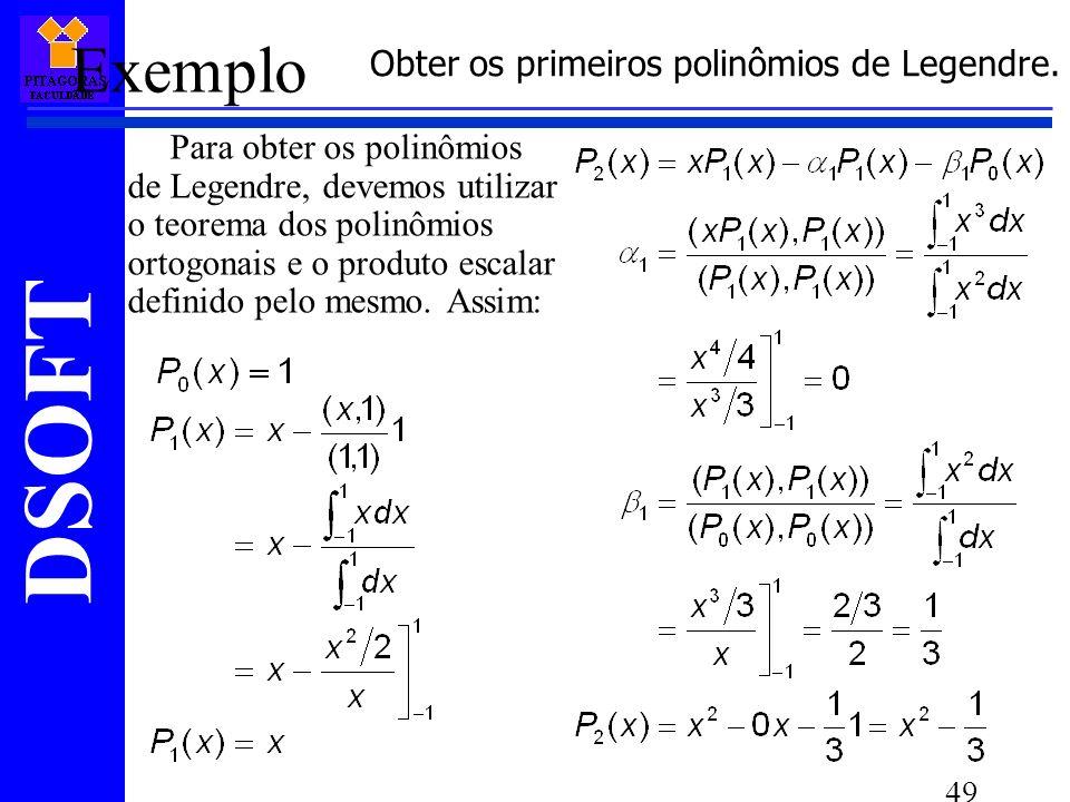 Obter os primeiros polinômios de Legendre.