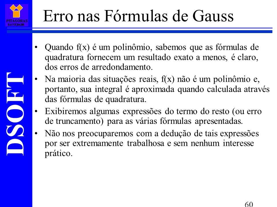 Erro nas Fórmulas de Gauss