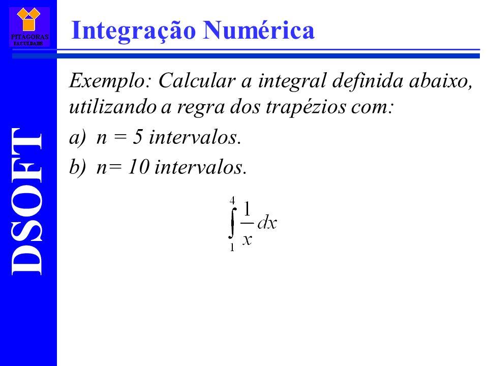 Integração Numérica Exemplo: Calcular a integral definida abaixo, utilizando a regra dos trapézios com: