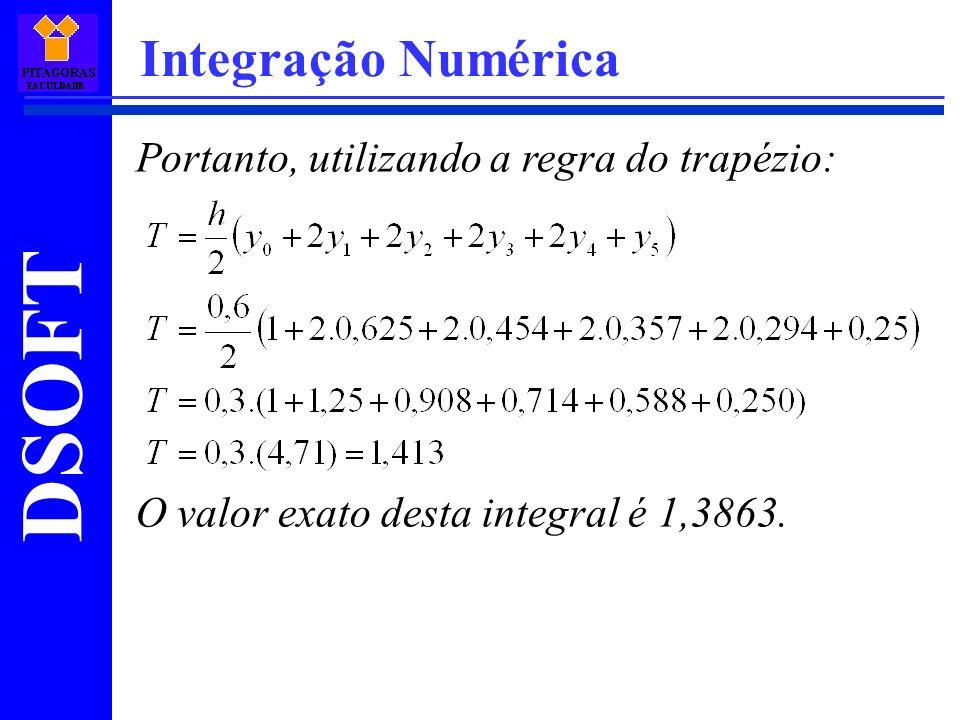 Integração Numérica Portanto, utilizando a regra do trapézio: