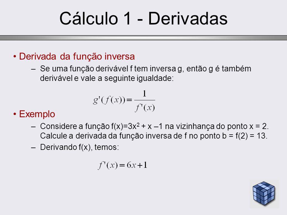 Cálculo 1 - Derivadas Derivada da função inversa Exemplo