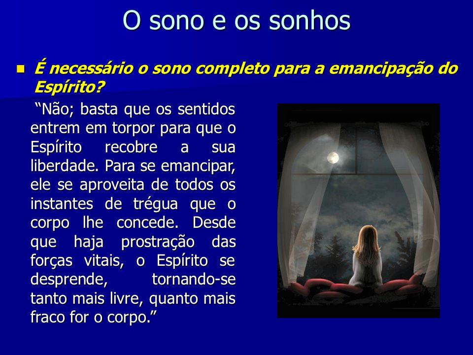 O sono e os sonhos É necessário o sono completo para a emancipação do Espírito