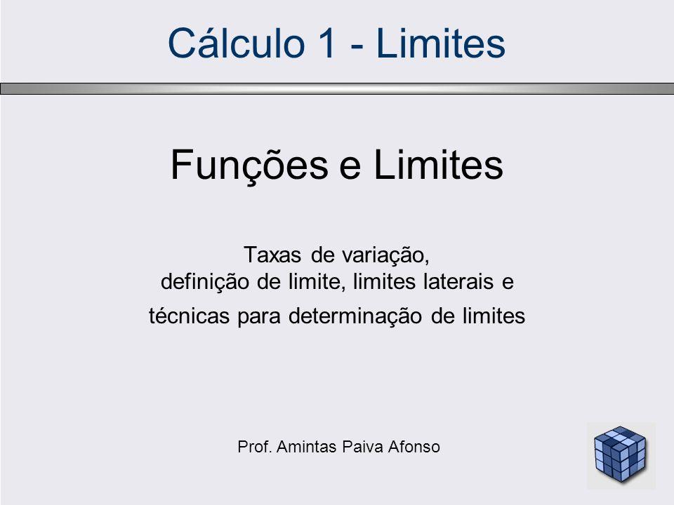 Cálculo 1 - Limites Funções e Limites Taxas de variação,