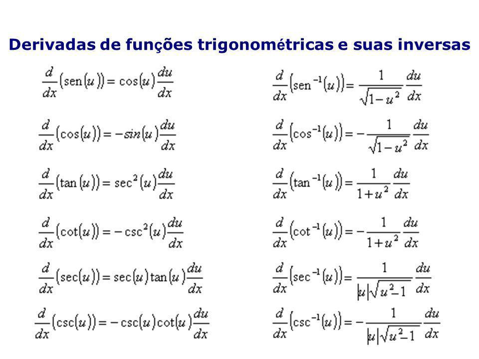 Derivadas de funções trigonométricas e suas inversas