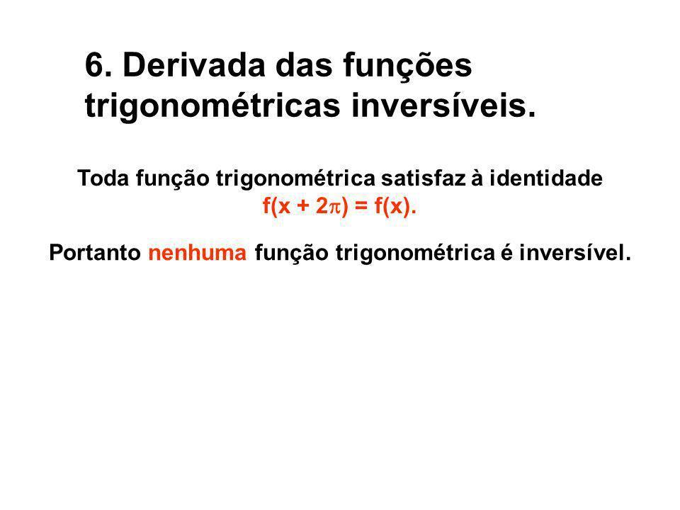 6. Derivada das funções trigonométricas inversíveis.