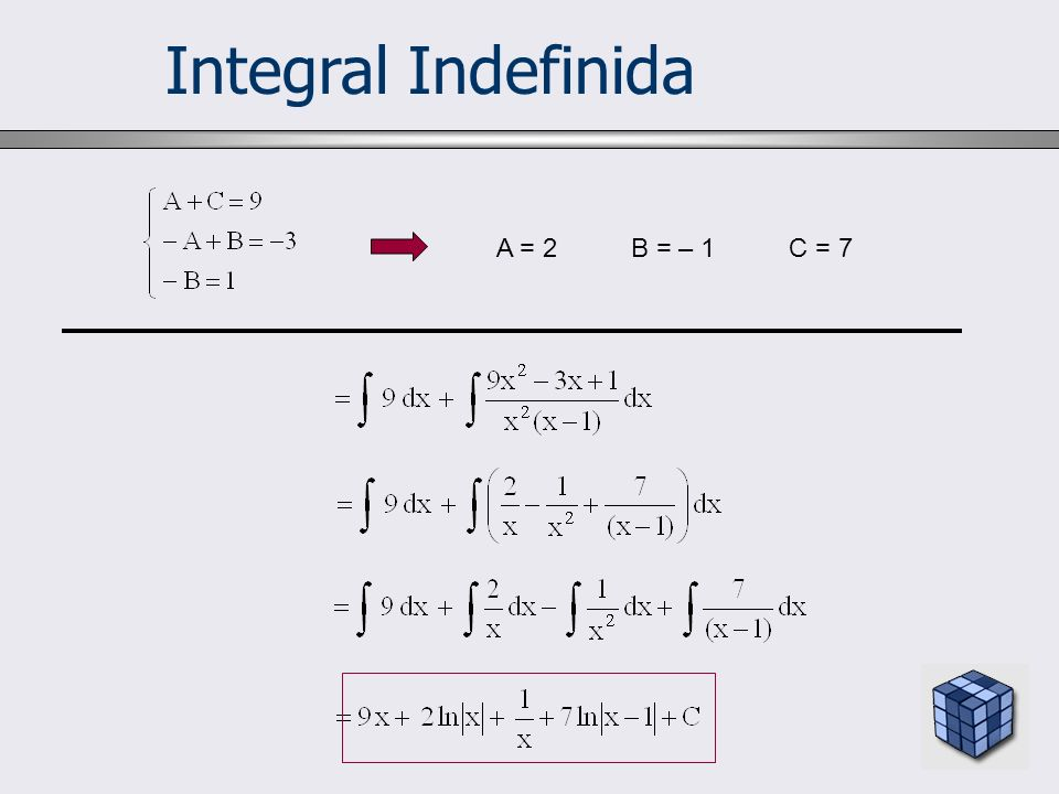Integral Indefinida A = 2 B = – 1 C = 7 10