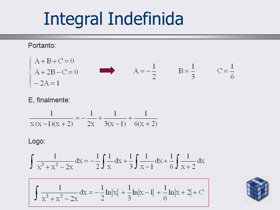 Integral Indefinida Portanto: E, finalmente: Logo: 12