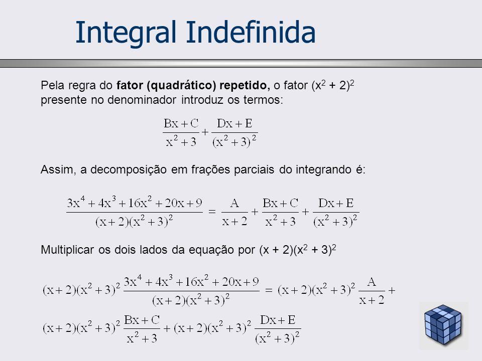 Integral Indefinida Pela regra do fator (quadrático) repetido, o fator (x2 + 2)2 presente no denominador introduz os termos: