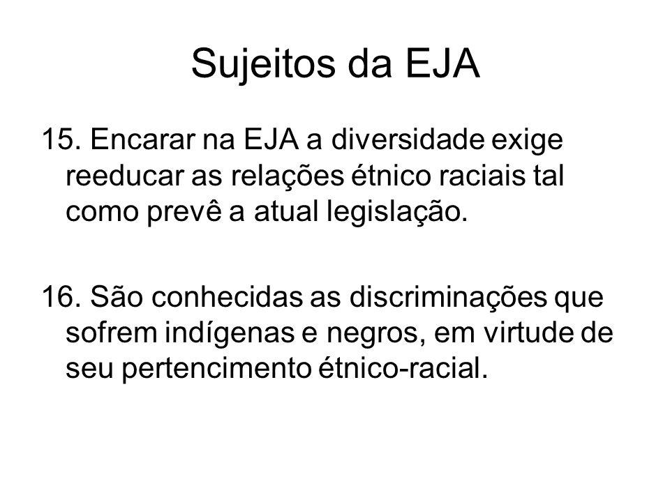 Sujeitos da EJA 15. Encarar na EJA a diversidade exige reeducar as relações étnico raciais tal como prevê a atual legislação.