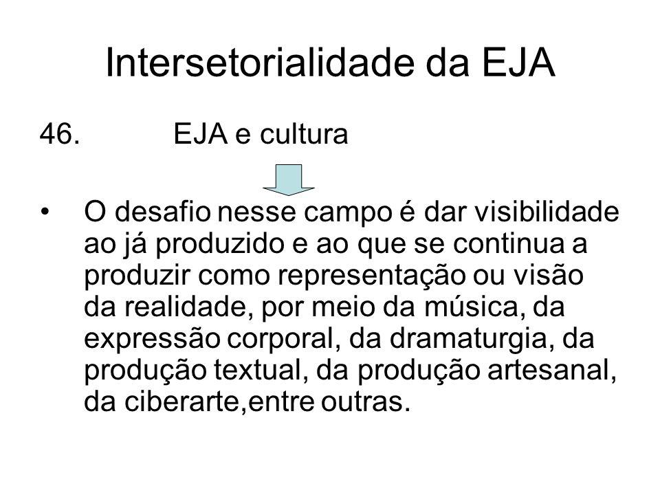 Intersetorialidade da EJA